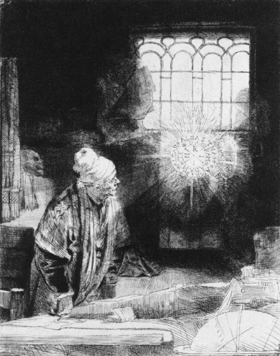 Faust, etching by Rembrandt, 1650